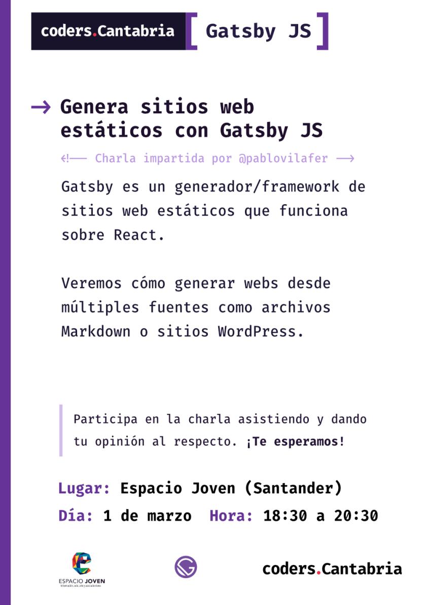 Cartel de la sesión de marzo de Coders Cantabria
